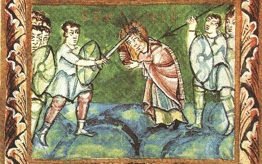 Der heilige Bonifatius, Bild aus dem Fuldaer Sakramentar (11. Jahrhundert)